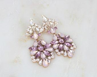 Rose gold earrings, Chandelier earrings, Bridal jewelry, Statement earrings, Blush crystal earrings, Swarovski earrings, Wedding earrings