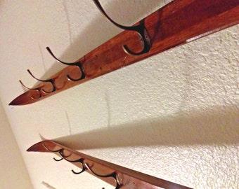 Repurposed Vintage Norwegian Wood Ski Coat Rack