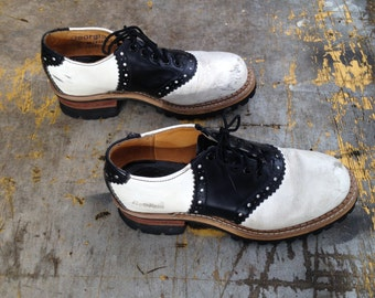 70s Black and White Clogs, Vintage Clogs, Georgia Clogs, Good Year Tire Sole, 7.5 M