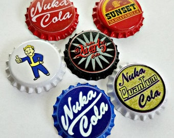 Set of 6 Fallout inspired Unofficial Bottle Caps set #1