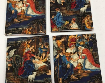 Christmas Holiday Manger Scene Fabric Covered Composition Notebook Journal