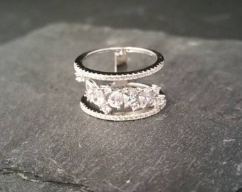 Genuine 925 Sterling Silver Cubic Zirconia Triple Band Cluster Pear Cut Ring Size L Gift