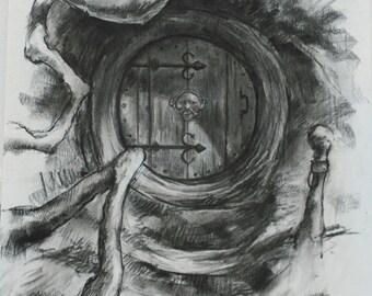 Hobbit door charcoal on canvas