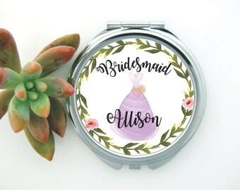 Bridesmaid Compact Mirror, Bridesmaid Gifts,  Gift for Bridesmaids, Bridal Compact Mirror, Bridesmaid Accessories, Bridesmaid Pocket Mirror