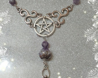 Wiccan Mother Goddess necklace-jewelry-Paganism-witch-wicca-triskel-pentacle-protection-pagano-Amethyst