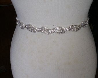 Silver Wedding Dress Sash/ Wedding Dress Belt/Crystal Sparkle Sash/ Rhinestone Sash/Wedding Dress Tie Back Belt