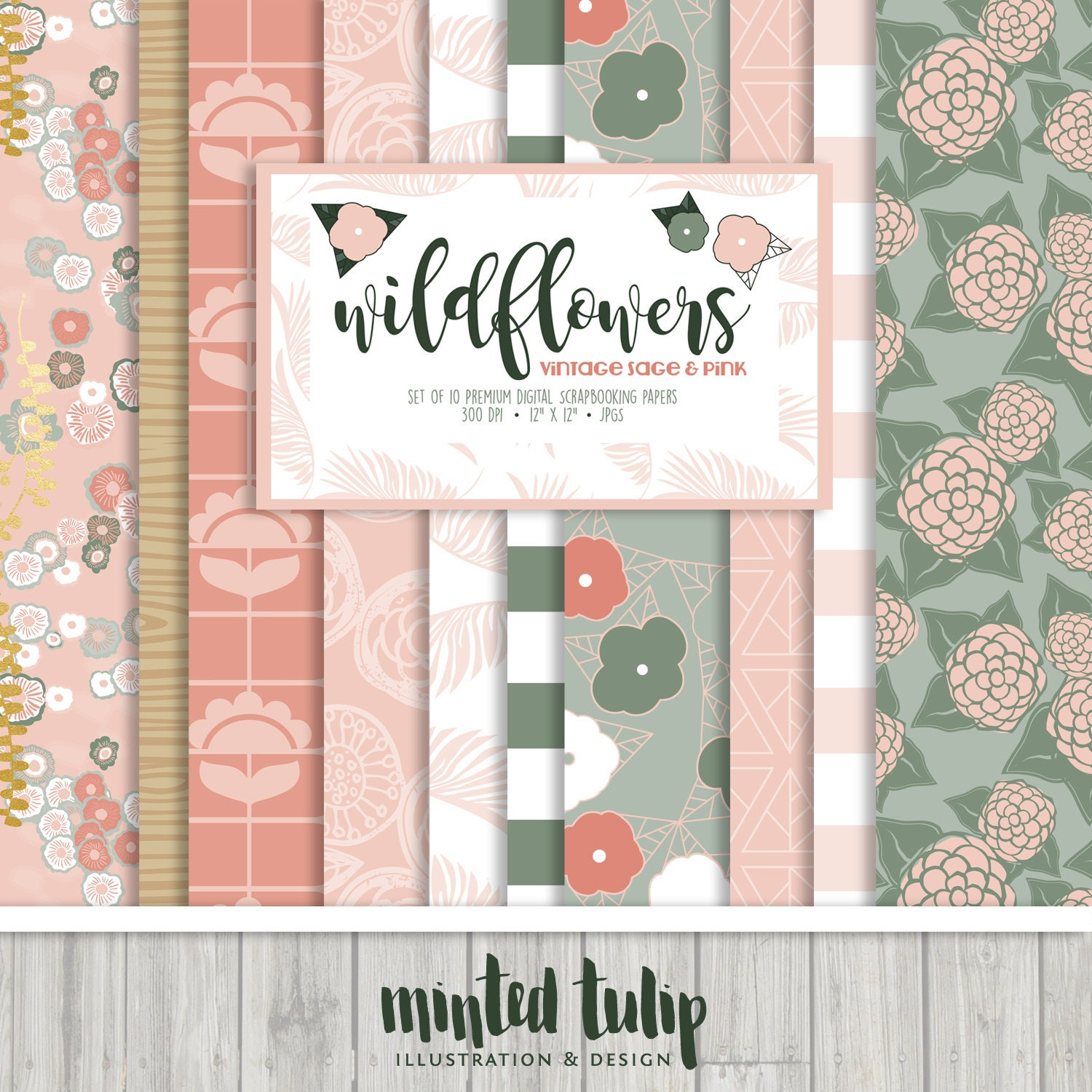 Scrapbook paper collections - Wildflowers Vintage Sage And Pink Digital Scrapbooking Paper Collection Set Of 10 Digital Papers
