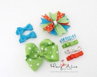 Hair Bow Sampler Set- 8 Bows varied sizes, Large Bow, Girls Hair Bow, Blue Bows, Green Bows, Toddler Hair Bow, Alligator Clip- Made to Order