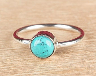 Turquoise Ring, Starling Silver Turquoise Ring, Vintage Jewelry, Turquoise Simple Ring, Handmade Ring, Statement Ring, Gift Ring, BJR-322-TU