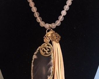 Matte Agate Knotted Necklace with Cream Suede Tassel, Gold Filled Protective Charms & Quartz Pendant