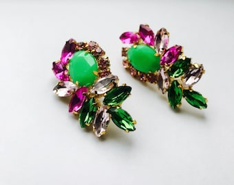 Green and Pink Chandelier Earrings