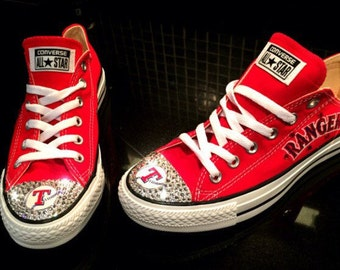 Texas Rangers Swarovski Crystal Converse Sneakers - FREE SHIPPING