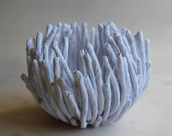 White paper mache bowl – decorative paper bowl – handmade – jewelry holder - candle holder