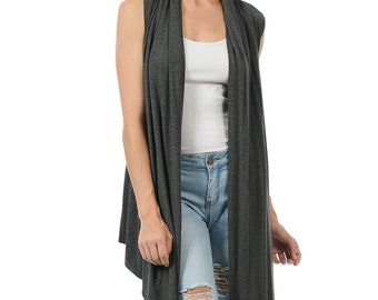 Sleeveless Asymmetric Open Front Vest Charcoal