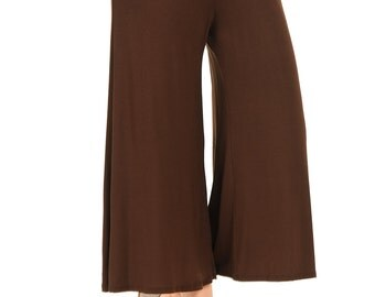 Elastic Waist Culottes Pants Brown