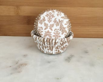 Tan and White Paisley Cupcake Liners, Standard Sized, Baking Cups (50)