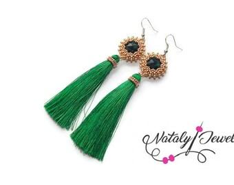 Green gold earrings Crystal earrings Fringe earrings Beaded earrings Gift for her Gift for wife Classic jewelry  Modern earrings