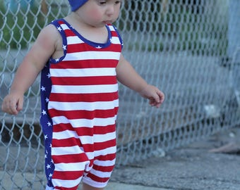 baby romper - 4th of july romper - patriotic romper - fourth of july - red white and blue romper
