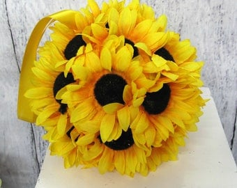 Wedding flower ball, Sunflower pomander, Yellow kissing ball, Fall wedding decorations, Aisle runners