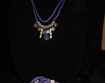 Matching Necklace and Bracelet Purple cord, Gem Stones,