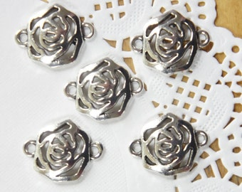 Silver Tone Rose Charms (5pcs)