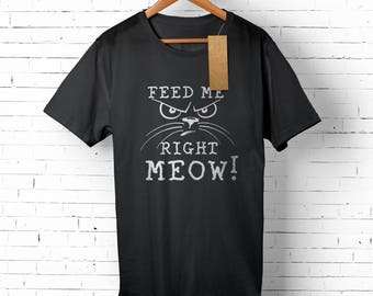 Hungry Cat Men's Tee - Funny Cat T-shirt for Him - Cat Lover Gift - Hangry Cat Shirt - Funny Kiten T-shirt - Men's Cat Tee - Kitty Shirt