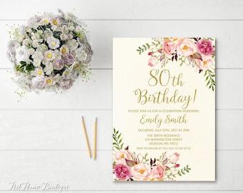 80th Birthday Invitation, Any Age Women Birthday Invitation, Floral Ivory and Gold Birthday Invitation, Boho Birthday Invite, #BW35-80