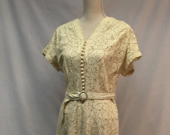 1930's Ivory Lace Dress with Rhinestone Buckle Belt