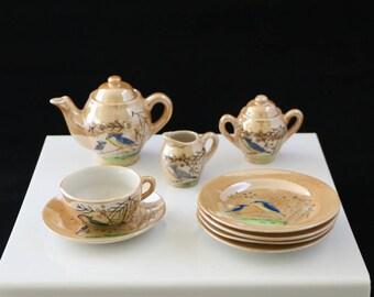 Vintage Lusterware Childs Tea set with Blue Bird