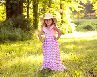 Girls Pink Chevron Maxi Dress