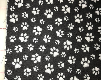 100% Cotton fabric by Half Yard increments - Curious Cats Paw Prints 181 Black - by Quilting Treasures