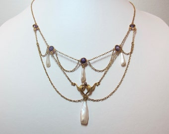 1900s Antique Art Nouveau 14K Yellow Gold, Amethyst, and Fresh Water Pearl Necklace
