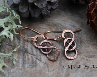 Celtic Copper Earrings, Hand Forged Earrings, Rustic Earrings, Wire Earrings, Copper Celtic Jewelry, Infinity Knot Earrings, Celtic Knot