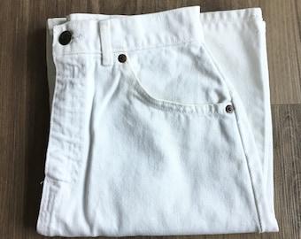 Vintage White High Waist Jean Skirt // Size 24