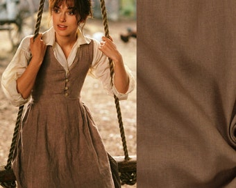 Custom Made Pride and Prejudice Regency Brown Linen and Muslin Gown
