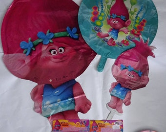 TROLLS Party supplies favor bags fillers Decorating Balloons Napkins Plates Tablecover Flag banner Gifts Surprise Eggs