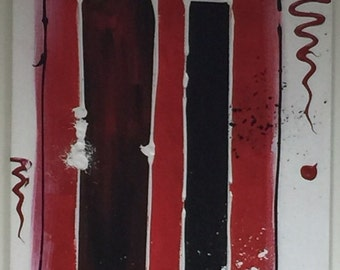 Abstract acrylic painting black and white red 50 x 100 cm