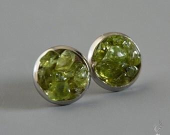 Peridot Earrings - August Birthstone Jewelry - Raw Peridot Stud Earrings - Valentines Gift for Her - August Birthday Gift - Leo Birthstone
