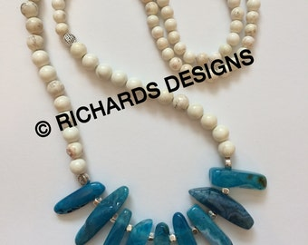 White Howlite and Blue Stick Bead Necklace | Bohemian | Handmade