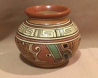 Vintage Mesoamerican polychrome bowl/Replica painted bowl