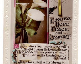 Vintage Real Photo Postcard, EASTER,CROSS,Peace LILLIES,Hope,Peace,Comfort,Rotary,c1910s
