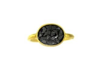 Wonderful Vintage Black Diamond Mosaic Ring Size 5.5