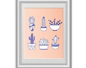 Cactus Print // 8.5 x 11 // Graphic Design Illustration // Wall Decor