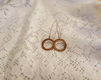 Handmade Copper and Sterling Earrings, Hammered Copper Rings Large - Vintage, Local Artist Made