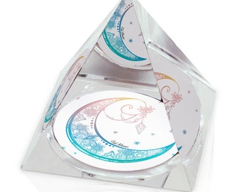 "Decorative Moon Boho Hippie Illustration Art 2"" Crystal Pyramid Paperweight"