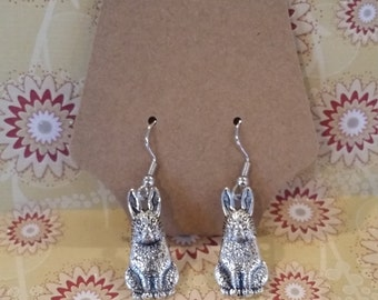 Large silver tone nickle free bunny rabbit earrings rabbitry/farm/Easter/spring/