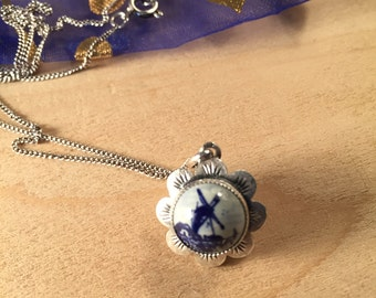 Delft Windmill Pendant and Chain 835 Silver