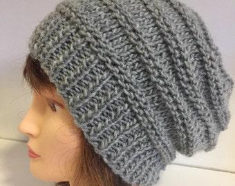 Grey Chunky Wool Beanie, Unisex Hats, Silver Grey Slouchy Beanie, Light Grey Knit Beanie, Birthday Gift, Matching Boyfriend Girlfriend Gift