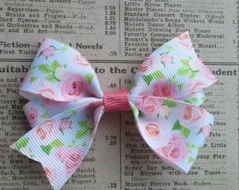 Baby Pink Rose Hair Bow, girls hair bows, toddler hair bows, party favors, valentine hair bows