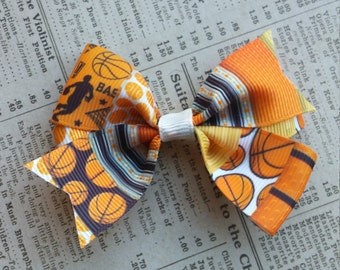 Basketball Hair Bow, girls hair bows, sports hair bows, party favors